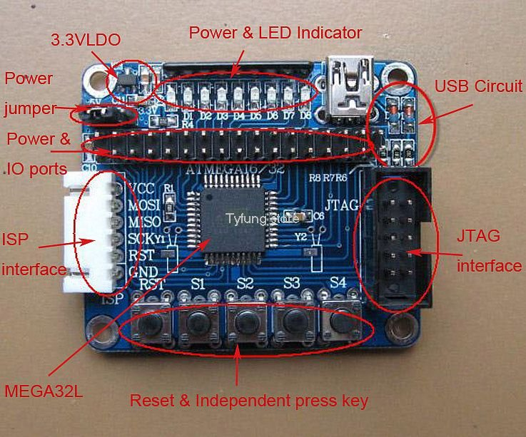 ATMEGA32 Minimum System Board